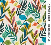 colorful tropical leaf and fern ... | Shutterstock .eps vector #1585530280