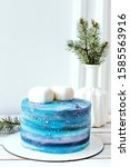 christmas blue cake  space... | Shutterstock . vector #1585563916