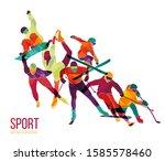 colorful sportsmen  athletes... | Shutterstock .eps vector #1585578460