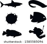 silhouettes of fish. black and... | Shutterstock .eps vector #1585585096