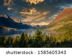Landscape view of lake and mountain range in Glacier NP, Montana, USA - stock photo