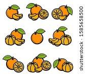 mandarin set. collection icons... | Shutterstock .eps vector #1585658500