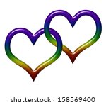 two heart symbols in lgbt flag... | Shutterstock . vector #158569400