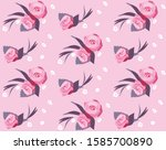 seamless pattern with roses ...   Shutterstock .eps vector #1585700890