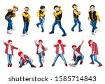 the boy in the style of hip hop ... | Shutterstock . vector #1585714843