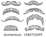 set of different mustache.... | Shutterstock .eps vector #1585723399