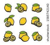 lemon set. collection icon... | Shutterstock .eps vector #1585742140