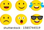 emoji set funny and sad... | Shutterstock .eps vector #1585744519