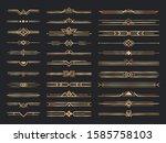 golden art deco dividers....   Shutterstock .eps vector #1585758103