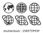 globe earth set icon vector... | Shutterstock .eps vector #1585759939