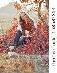 young slim woman autumn... | Shutterstock . vector #158582354