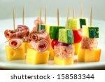 different cocktail stick snacks ... | Shutterstock . vector #158583344