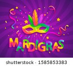 mask with feathers for... | Shutterstock .eps vector #1585853383