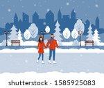 city winter park  ice rink  ... | Shutterstock .eps vector #1585925083