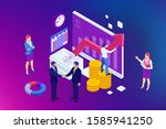 isometric business to business... | Shutterstock . vector #1585941250