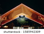 christmas wooden house for the... | Shutterstock . vector #1585942309