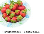 strawberries isolated on a... | Shutterstock . vector #158595368