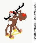 Christmas Moose With Big Red...