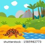 cartoon happy dinosaur near... | Shutterstock . vector #1585982773