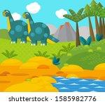 cartoon happy dinosaur near...   Shutterstock . vector #1585982776