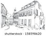 urban sketch of baden baden in... | Shutterstock .eps vector #158598620