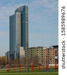 Small photo of Milan Italy 4 December 2019:Palazzo Lombardia is a unitary complex of buildings, including a 161.3 meter high skyscraper.