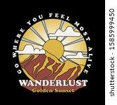 vector mountain with golden... | Shutterstock .eps vector #1585999450