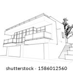 house building architecture... | Shutterstock .eps vector #1586012560