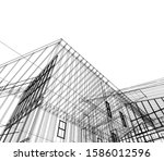 house building architecture... | Shutterstock .eps vector #1586012596
