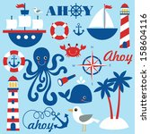 cute sea objects collection.... | Shutterstock .eps vector #158604116