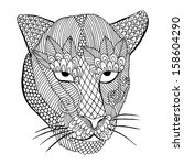 leopard head with embroidery... | Shutterstock .eps vector #158604290