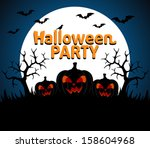 halloween party background blue ... | Shutterstock .eps vector #158604968