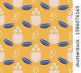 flat vector seamless pattern.... | Shutterstock .eps vector #1586076163