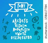 doodle abc font | Shutterstock .eps vector #158617784