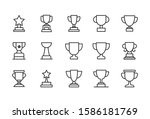 stroke line icons set of trophy.... | Shutterstock .eps vector #1586181769