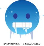 freezing cold emoji. icy blue... | Shutterstock .eps vector #1586209369