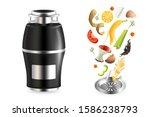 food waste disposer  slices of...   Shutterstock .eps vector #1586238793