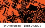 orange pcb motherboard abstract ...   Shutterstock .eps vector #1586292073