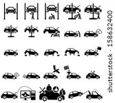 auto repair icons | Shutterstock .eps vector #158632400