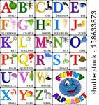 funny alphabet with pictures... | Shutterstock .eps vector #158633873