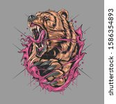 bear grizzly angry v artwork... | Shutterstock .eps vector #1586354893