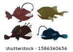 deep sea creatures vector set.... | Shutterstock .eps vector #1586360656