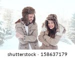 Loving Couple Cuddling Outdoor...