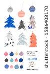 merry christmas decorative set... | Shutterstock .eps vector #1586408170