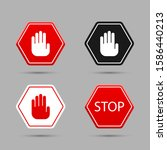 stop set  icons. graphic... | Shutterstock .eps vector #1586440213
