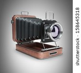 Classic Retro Camera. Wooden...