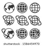 globe earth set icon vector... | Shutterstock .eps vector #1586454970