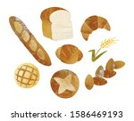 breads and wheat by watercolor   Shutterstock . vector #1586469193