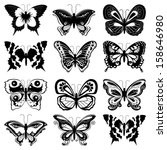 Stock vector set of twelve black butterfly silhouettes on a white background hand drawing vector illustration 158646980