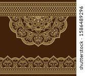 seamless borders with mandala... | Shutterstock .eps vector #1586489296